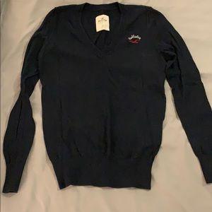 Hollister Navy Blue V-Neck Sweater XS